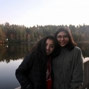Two Teenage Members of Substance Free Youth Standing In Front of a Lake